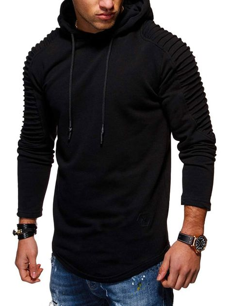Mens Casual Solidd Long Sleeve T Shirt Hoodies Slim Fit Muscle Pullover Tops Tee