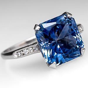 Vintage Radiant Cut Sapphire Engagement Ring Platinum