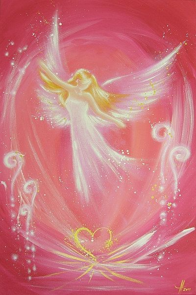 """Limited angel art poster """"easiness"""" - modern contemporary angel painting, artwork, print, glossy photo❤️"""