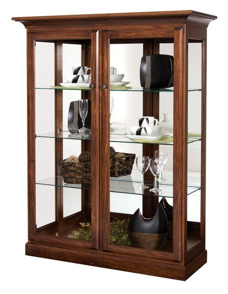 Amish Traditional Two Door Glass Curio Cabinet Glass Curio Cabinets Curio Cabinet Wood Doors Interior