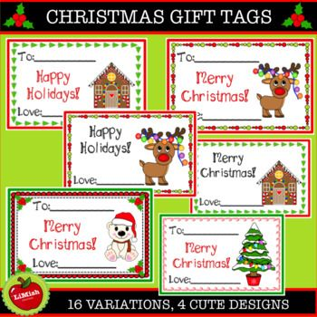 These Adorable Christmas Gift Tags Includes 4 Designs And 16 Variations Each Card Is Approximately 8 7cm 3 Christmas Gift Tags Gift Tags Cute Christmas Gifts