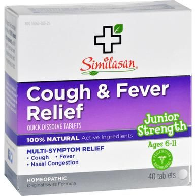 Similasan Cough And Fever Relief Junior Strength Ages 6 To 11 40 Tabs Fever Relief Cold And Cough Remedies Cough Relief