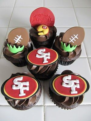 49er Cupcakes soo cute :) BUy SUGAR FREE CUPCAKES OR MUFFINS and decor yourself with SUGAR FREE FROSTINGS.