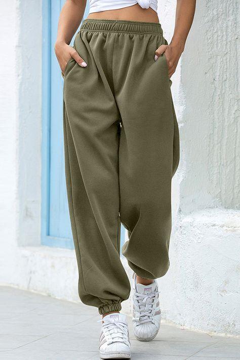 Olive Casual Loose High Waist Jogger Sweatpants