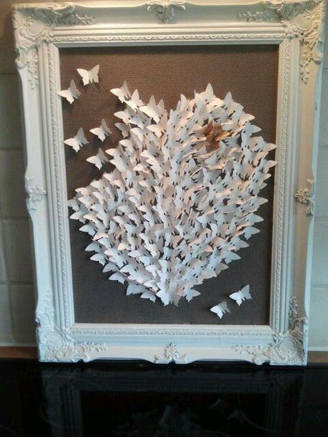 Van de kringloop winkel, na het slopen van het schilderij en opnieuw spuiten, met meer dan 200 vlinders gestanst kom je op dit resultaat.