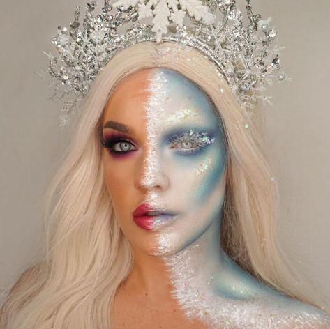 Snow Queen Makeup, Snow Makeup, Ice Makeup, Frozen Makeup, Face Paint Makeup, Winter Makeup, Christmas Makeup Look, Halloween Makeup Looks, Cool Halloween Costumes