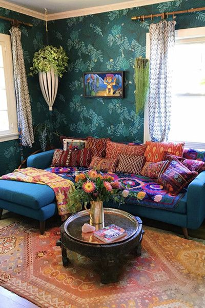 Kantha Quilts Bohemian Living Rooms Decor Boho Living Room