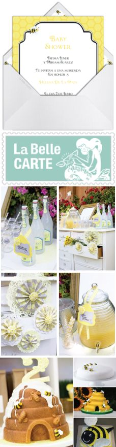 Bee Baby Shower, Bee Cakes, Lemonade, Inspiration and Bee Invitations - Inspiracion e invitaciones virtuales para baby shower de abeja - La Belle Carte