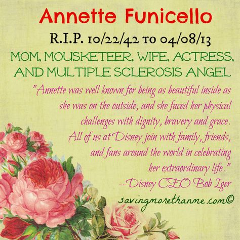 RIP Annette #CureMS #Disney multiple sclerosis