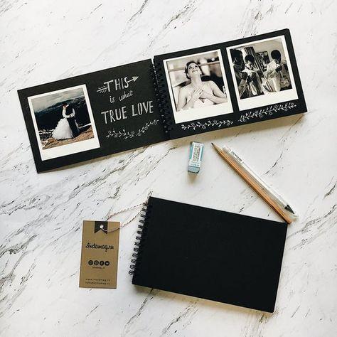 Create Polaroid guest book, Friends album, Black mini album memories for friends gift, create person