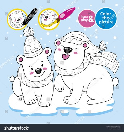 Educational Game For Children Paint Polar Teddy Bears Scarves Hats On Ice Winter Color Th Polar Teddy Bear Educational Games For Kids Teddy Bear
