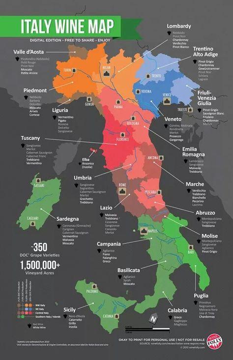 Italian wine grape varieties map by region