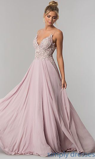 a27068733 Shop ribbon-embroidered-bodice long chiffon prom dresses at Simply Dresses.  Formal illusion evening dresses with rhinestones and open backs.