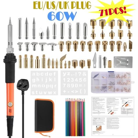 Electric Engraving Pen 7 pcs Electric Wood Burning Soldering Iron Kit Iron Burner Pen Pyrograph Tool Set Electric Soldering Kit US Plug