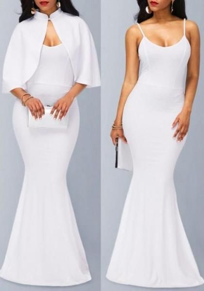 White Mermaid Spaghetti Straps Cape Two Piece Party Elegant Maxi Dress Elegant Maxi Dress Bodycon Dress With Sleeves Spaghetti Strap Maxi Dress