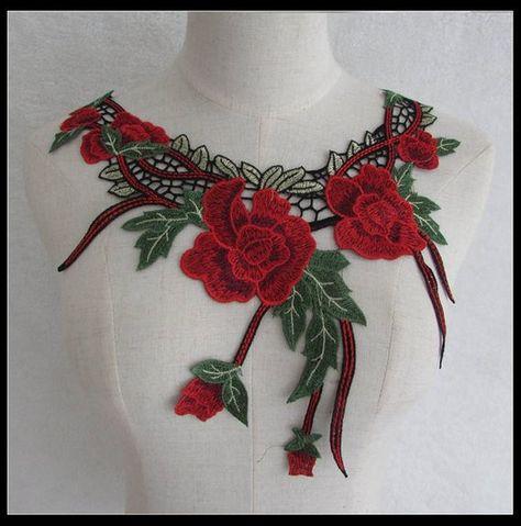 Guipure Decorative Sewing Lace Motif Applique Floral Venise Dress Collar Patches