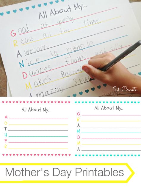 Mother's Day Printables (and Grandma, too)! Fun to see the answers the kids come up with!