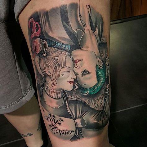 Joker and Harley Quinn Tattoo by Adam Blakey #Joker #HarleyQuinn #JokerandHarley #JokerTattoo #HarleyQuinnTattoo #Batman #ComicCouples #ComicTattoo #DC #AdamBlakey   Jun 6th 2016   58559