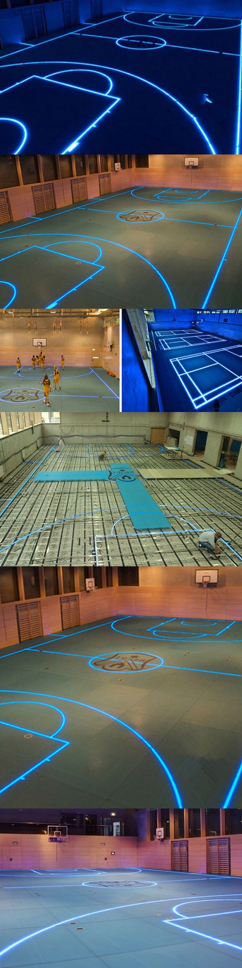 The underneath LED light source can turn this stadium floor into a hockey rink…