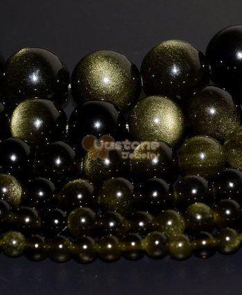 "Natural Golden Obsidian Gemstone Round Beads 15.5/"" 4 mm 6 mm 8 mm 10 mm"