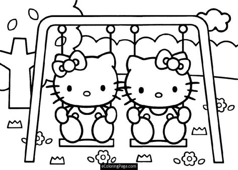 Print Coloring Pages Hello Kitty And Her Twin On A Swing Printable Coloring For Girls Hello Kitty Coloring Kitty Coloring Hello Kitty Colouring Pages