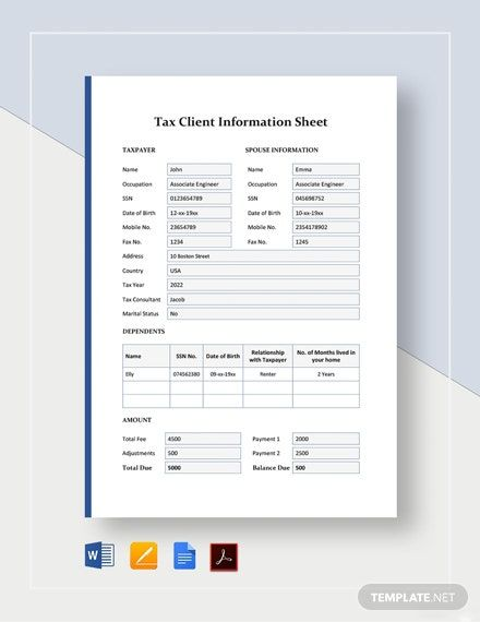 Tax Client Information Sheet Template Pdf Word Doc Apple Mac Pages Google Docs Card Templates Card Template Templates