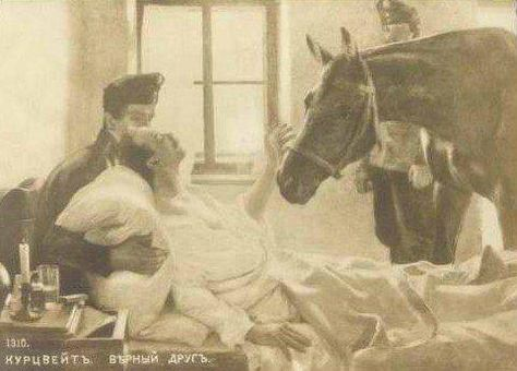This is an old photo of a dying soldier from WWI who insisted on seeing his horse upon his death. What a touching example of the extraordinary relationship between a man and his horse.