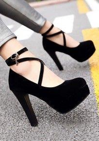 Black Round Toe Chunky Cross Strap Buckle Fashion High