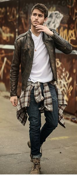 Can't wait for my leather jacket... Getting it from GAP... Very similar to this one... Won't be wearing the shirt around my waist though... Don't like that