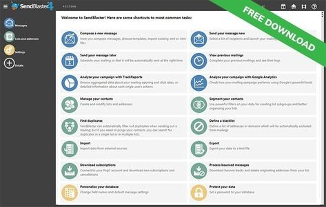 SendBlaster is the best bulk email software for managing your mailing list. Download the free version now and start your email marketing campaign!