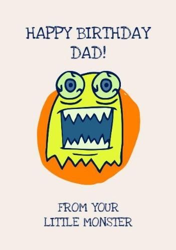 A Colorful Happy Birthday Dad Card Template With A Monster Illustration In Bright Green Happy Birthday Dad Cards Happy Birthday Dad Dad Cards