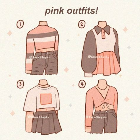Pink Outfits, Anime Outfits, Mode Outfits, Cute Casual Outfits, Grunge Outfits, Manga Clothes, Drawing Anime Clothes, Cute Art Styles, Cartoon Art Styles