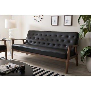 Baxton Studio Sorrento Mid Century Retro Modern Black Faux Leather