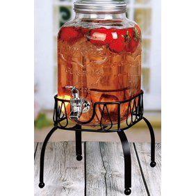 Estilo 1 Gallon Single Beverage Drink Dispenser On Metal Stand With Leak Free Spigot Clear Walmart Com In 2020 Drink Dispenser Glass Beverage Dispenser Glass Dispenser