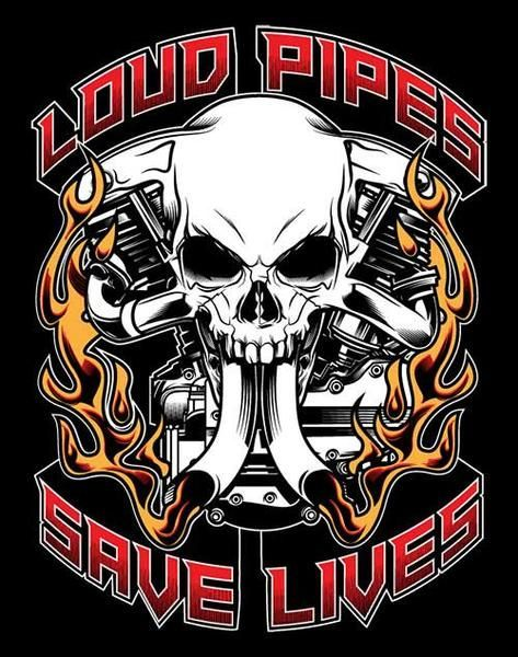 3 Motorcycle decals Loud Pipes Save Lives Safety Bike Week Window Sticker