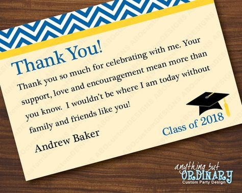 Blue And Yellow Graduation Thank You Note Chevron Top Flat