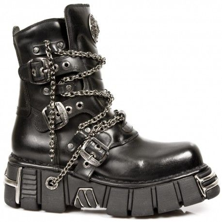New Rock Metallic Black Boots with chains in 2020 | New rock