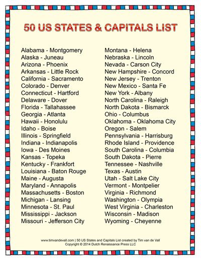 Peaceful image within printable list of states