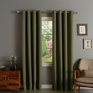 Aurora Home Solid Grommet Top Thermal Insulated 108 Inch Blackout Curtain Panel Pair Gre In 2020 Insulated Curtains Panel Curtains Thermal Insulated Blackout Curtains