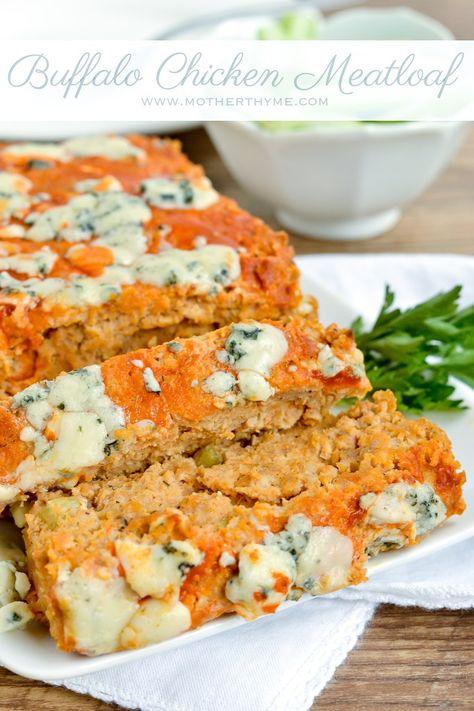 Buffalo Chicken Meatloaf - Mother Thyme - less egg, tweak recipe - 4 SP PER SLICE