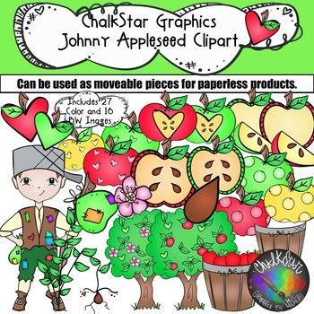 Apple Fun With Johnny Appleseed September Clip Art Chalkstar Graphics Clip Art Apple Life Cycle The Fun Factory