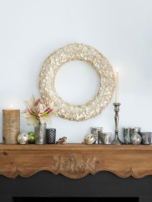 Mother-of-pearl buttons give this wreath a soft shine.