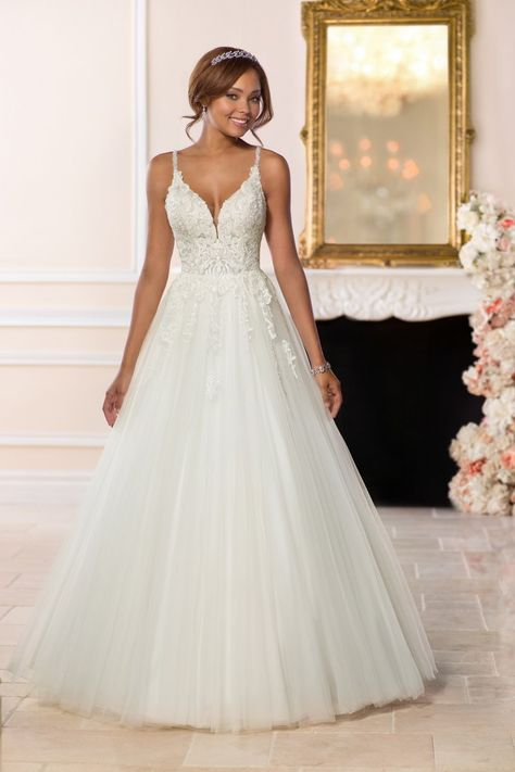 A-line wedding dress idea -embellished bodice with tulle skirt. Style 6583 from Stella York. See more wedding dress inspo on WeddingWire!