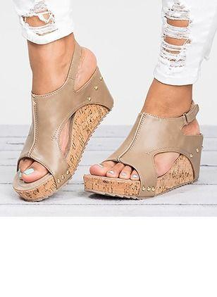 Schuhe PU Keil Absatz Zweiteiliger Stoff (1194157