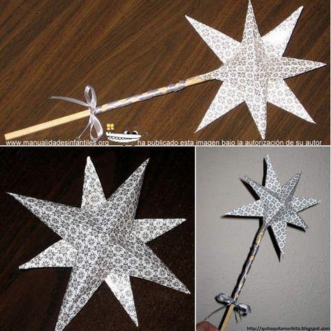 transformar una estrella de navidad en una varita: http://www.manualidadesinfantiles.org/transformar-una-estrella-de-navidad/
