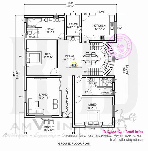 5 Bedroom Contemporary House With Plan Kerala House Design House Layout Plans Indian House Plans Modern house plan with round design element