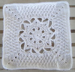 """Day 12: 12"""" Block of the Day - Snowfall 12"""" Square by Aurora Suominen  Free Pattern: http://myblueangels.blogspot.com/2011/01/snowfall-12-square-january-2011.html  #TheCrochetLounge #12inch #grannysquare Pick #crochet"""