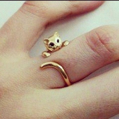 Jewels: cat ears, cats, kawaii, cat ring, gold ring - Wheretoget