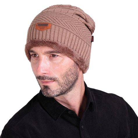 Men Soft Lined Thick Wool Knit Skull Cap Warm Winter Slouchy Beanies Hat -  Khaki - 12cd6d8e7e46