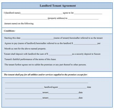 A landlord tenant agreement form is a document wherein a landlord - tenant lease form